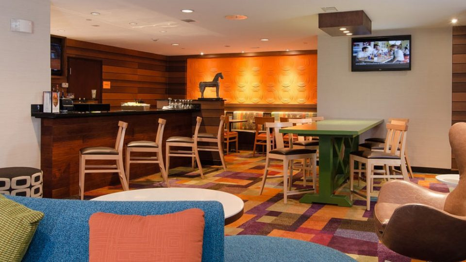 The bar and grill welcomes guests in the lobby of the Fairfield Inn in Downtown Hartsville.