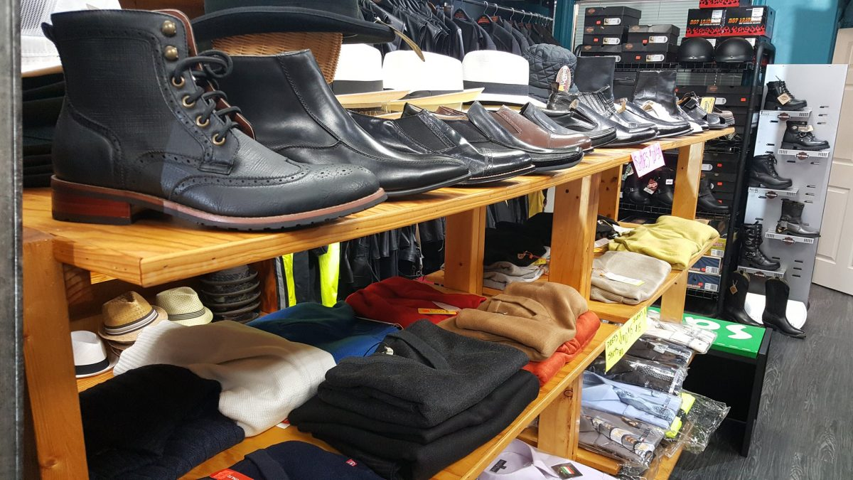 Boots and sweaters on display at Hartsville Army Navy.