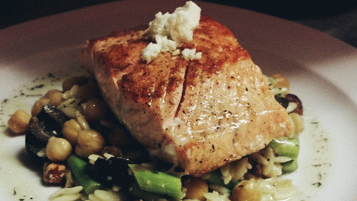 Pan-fried fresh salmon from Black Creek Bistro in Hartsville, SC.