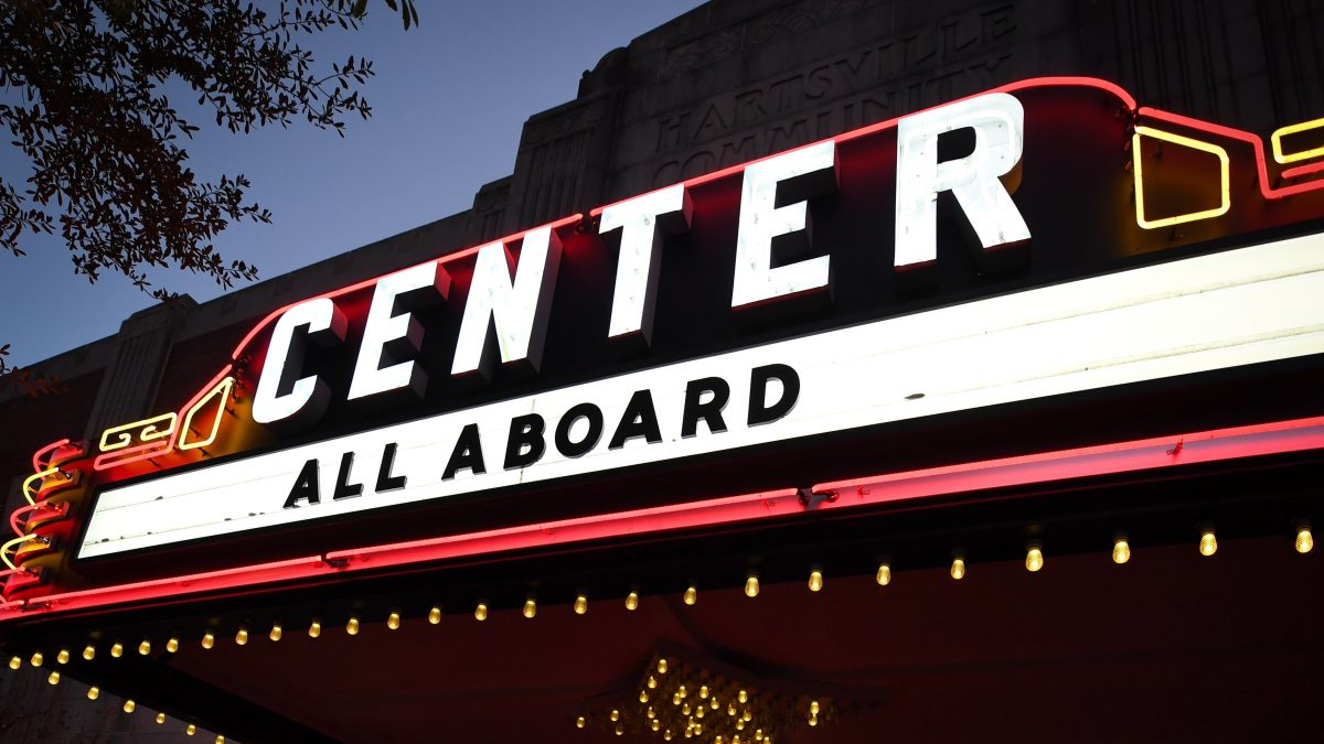 The marquee at the Center Theater in downtown Hartsville lit up the night of an event.