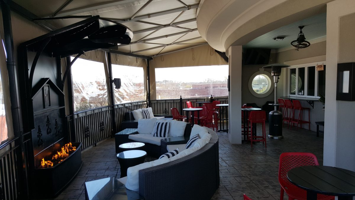 A view from under the awning at The Mantissa Rooftop Bar.