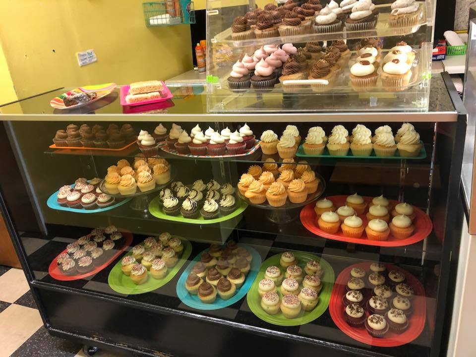A variety of cupcakes on display at sugaRush in Hartsville.