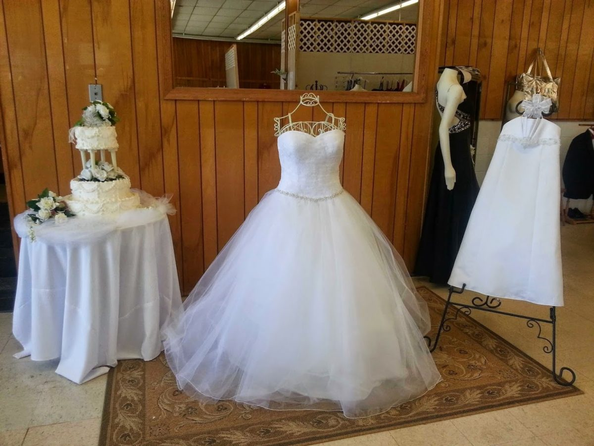 Dresses on display at Mary's Bridal.