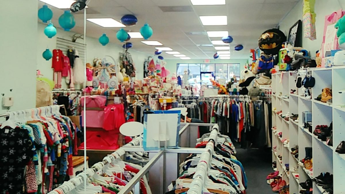 A photo of merchandise inside Wild Child Children's Clothing Boutique.