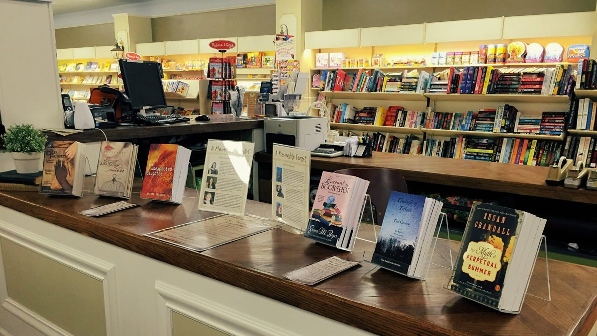 Featured books on display inside Burry Bookstore.