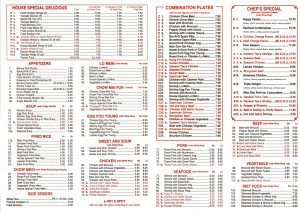 Page one of the menu from Hartsville's Hong Kong Chinese Restaurant on West Carolina Avenue.