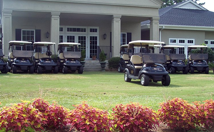 Carts at the clubhouse at Darlington Country Club