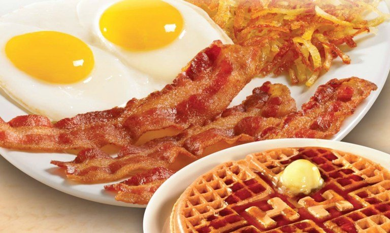 Golden waffles drenched in syrup, cooked-to-order eggs, crispy hashbrowns and sizzling bacon from Huddle House.