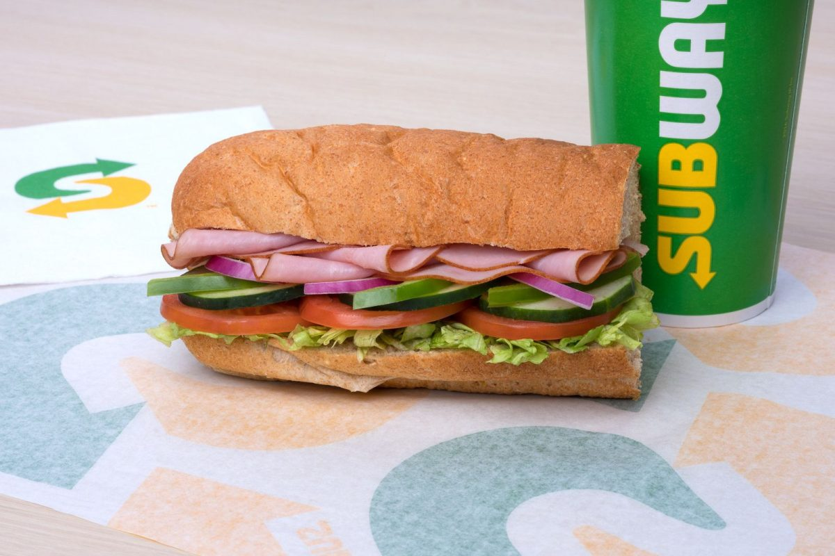 A ham sandwich and drink from Subway.