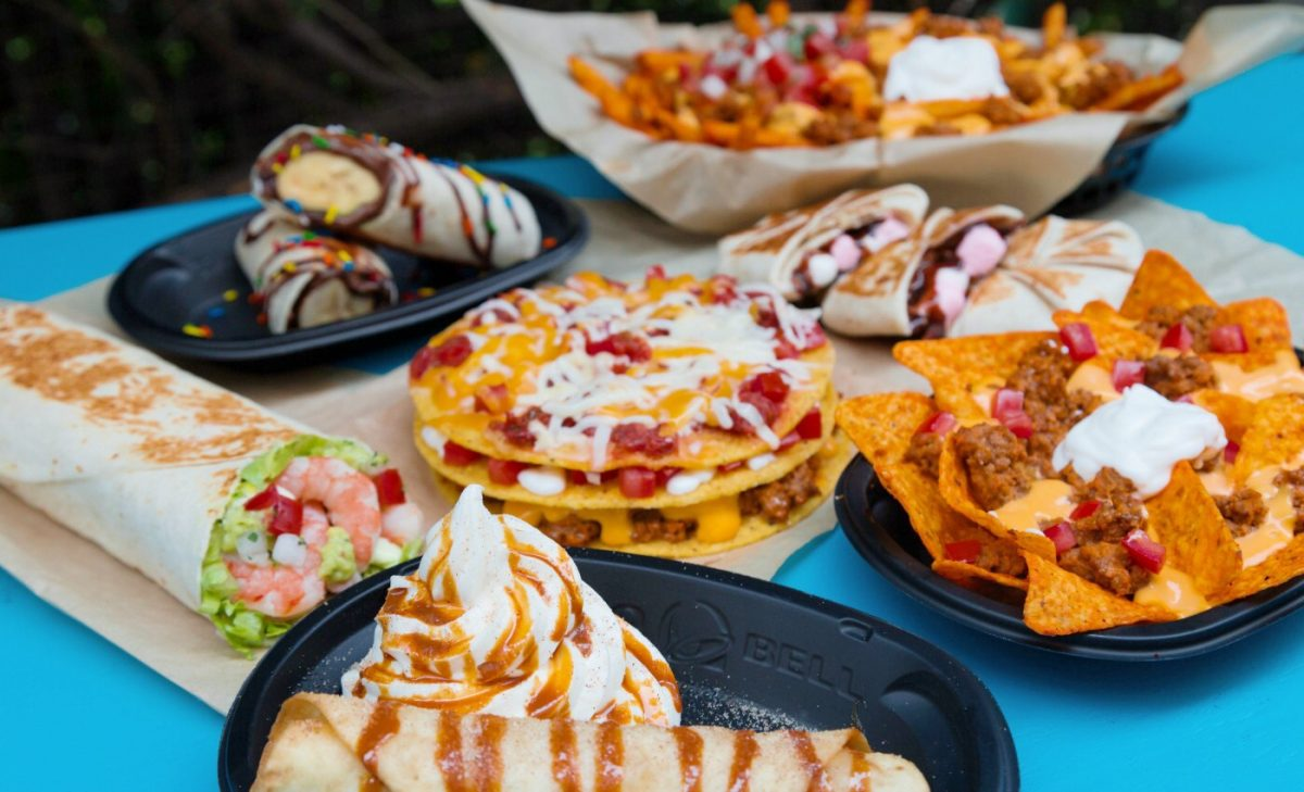 An assortment of Taco Bell menu items.