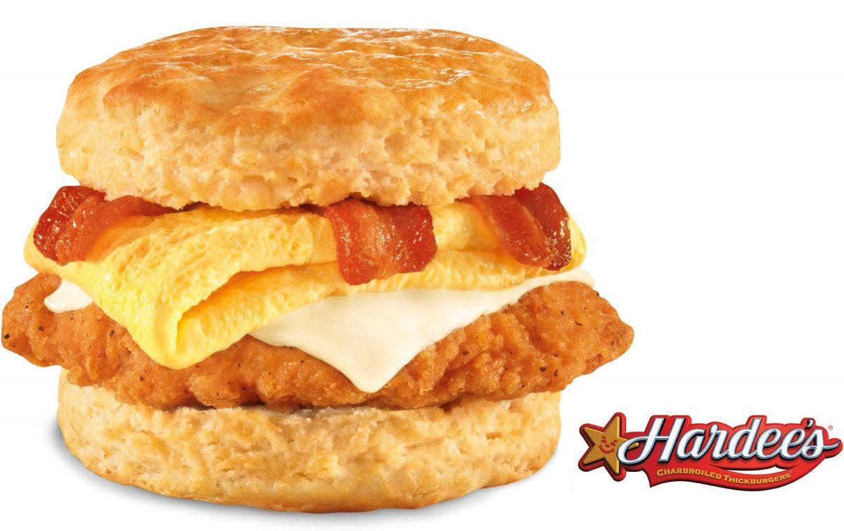 A Hardee's Bacon Swiss Chicken breakfast biscuit.