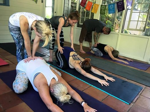 Participants in a yoga class at Our Sacred Space.