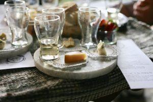 A board of cheeses at a tasting at Retrofit-sip-n-seat