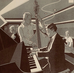 Vintage drawing of a jazz pianist and bassist playing in a lounge.