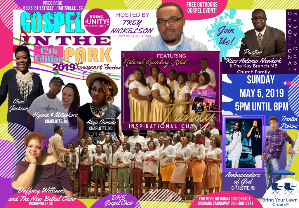 Gospel in the Park poster for May, 2019.