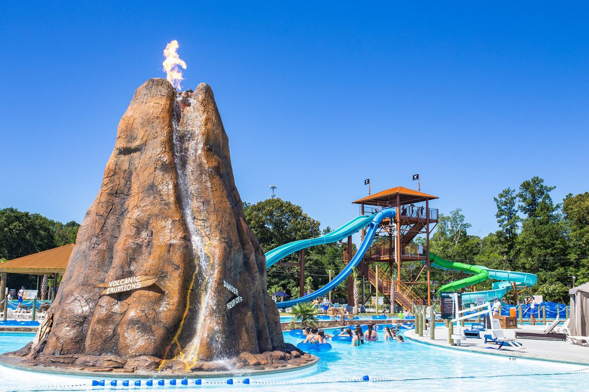 The volcano at Neptune Island with slides in the background.