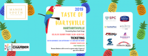 Banner image for Hartaritaville 2019 featured a background of parrots and tropical fruits.