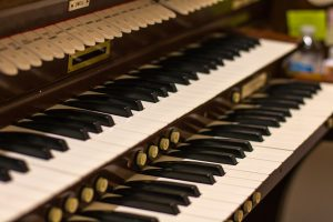 Macro photo of the keys of the organ at First Presbyterian Church of Hartsville.