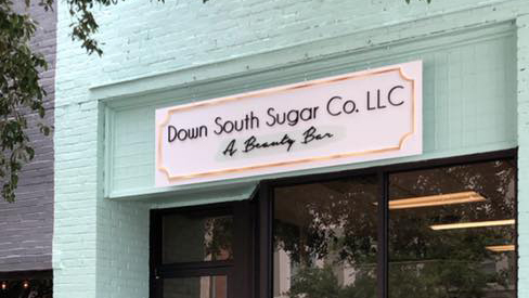 The sign on the facade of Down South Sugar Company in downtown Hartsville.