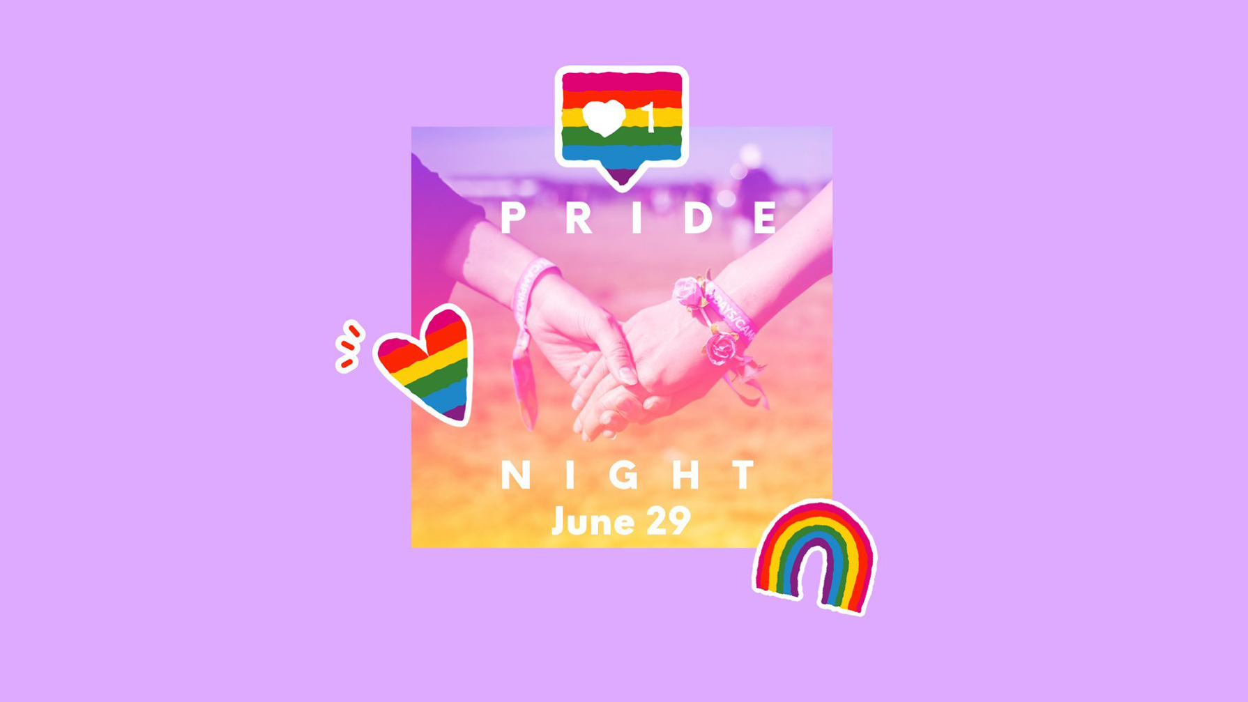 Purple Pride Month banner featuring hands holding and rainbow emojis.