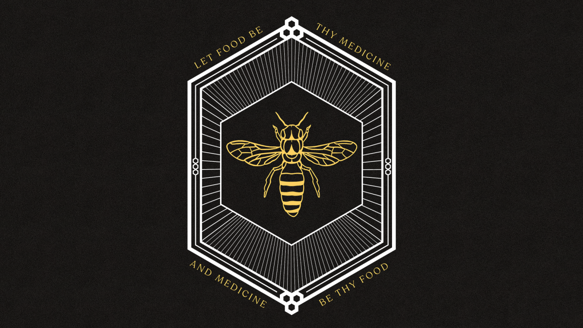 "The logo for Bee Medicine, featuring a bee and the words ""Let food be the medicine and medicine be they food."""