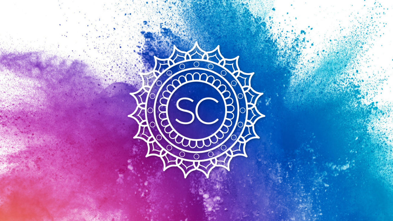The SC Yoga Fest logo over a splash of color