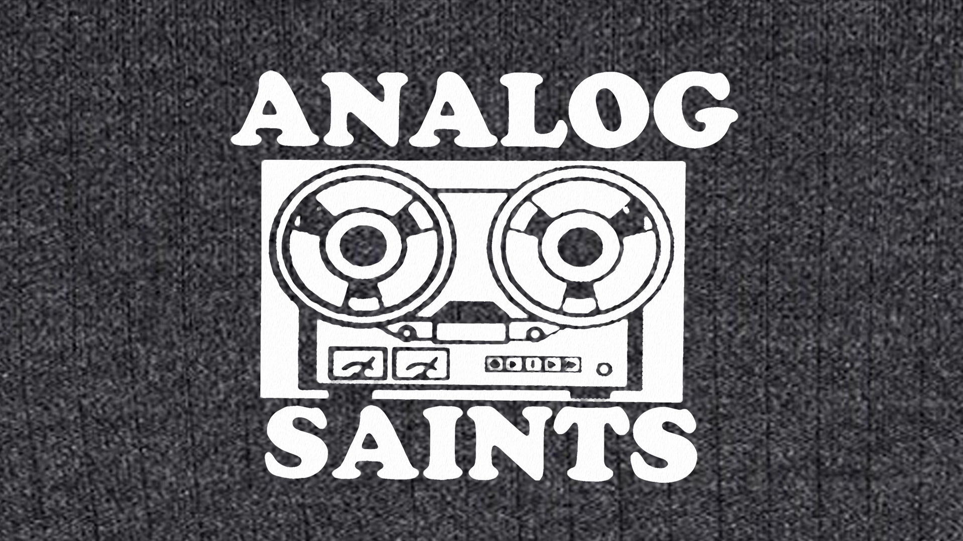 Analog Saints logo featuring a reel-to-reel tape player