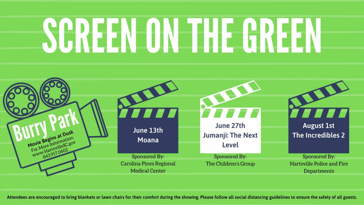 A poster showing the dates for Screen on the Green 2020.